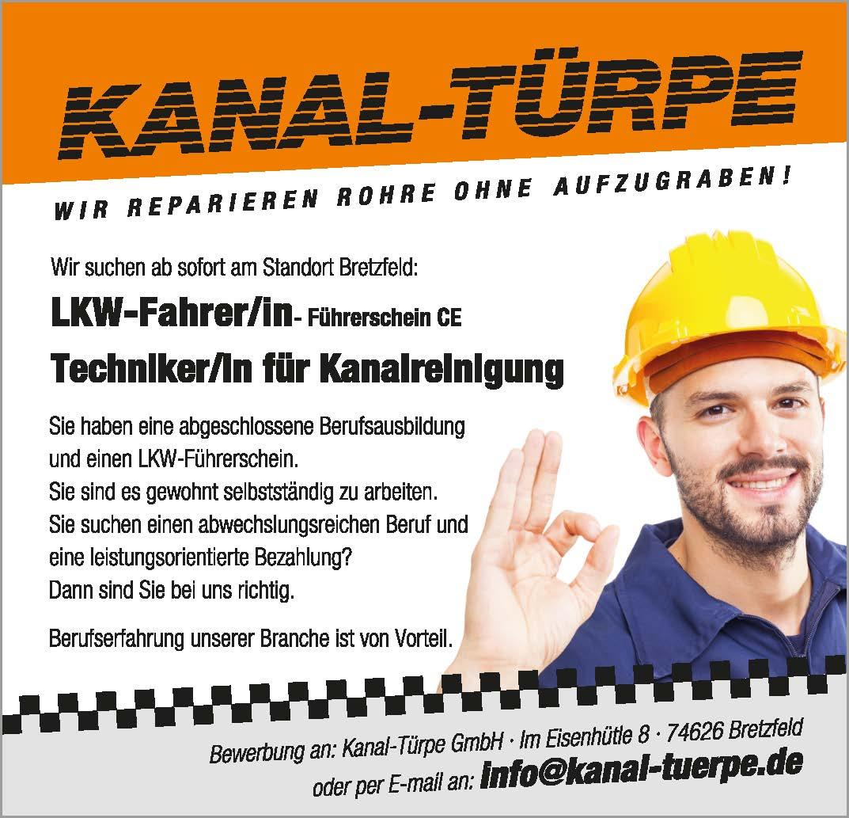 Stellengesuch LKW Fahrer / Techniker für Kanalreinigung 2017